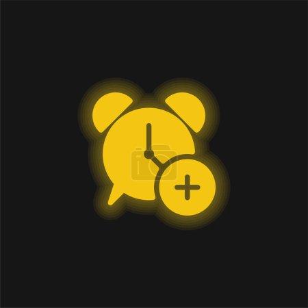 Illustration pour Alarme jaune brillant icône néon - image libre de droit