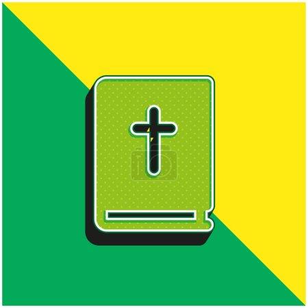 Photo pour Logo de l'icône vectorielle 3D moderne vert et jaune Bible - image libre de droit