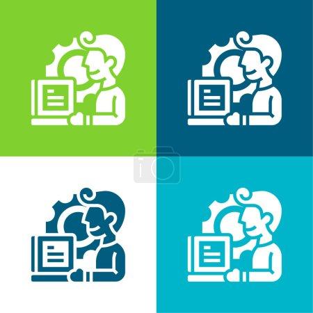 Illustration pour Application Ensemble d'icônes minimal plat quatre couleurs - image libre de droit