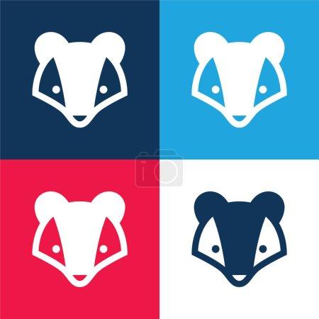Illustration pour Blaireau bleu et rouge quatre couleurs minimum jeu d'icônes - image libre de droit