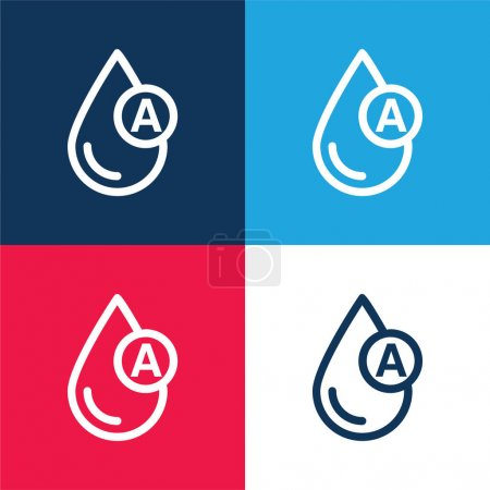 Photo for Blood Type blue and red four color minimal icon set - Royalty Free Image