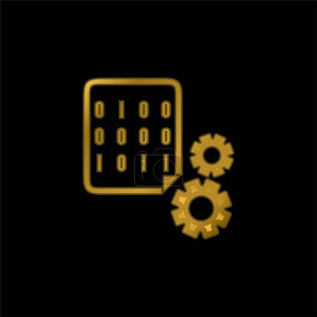 Illustration for Binary Codes And Cogwheels gold plated metalic icon or logo vector - Royalty Free Image
