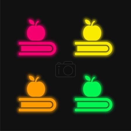 Photo pour Livre et Apple quatre couleur brillant icône vectorielle néon - image libre de droit