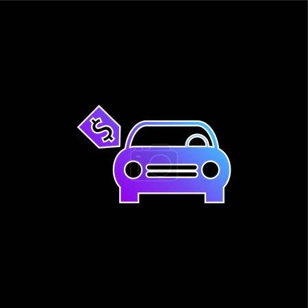 Illustration pour Voiture neuve avec l'icône vectorielle de dégradé bleu d'étiquette de prix de dollar - image libre de droit