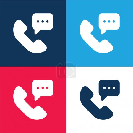 Illustration for 24 Hours blue and red four color minimal icon set - Royalty Free Image