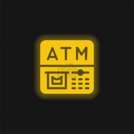 Illustration for Atm yellow glowing neon icon - Royalty Free Image