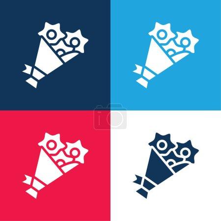 Illustration pour Bouquet bleu et rouge quatre couleurs minimum icône ensemble - image libre de droit