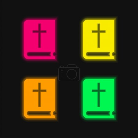 Illustration for Bible four color glowing neon vector icon - Royalty Free Image