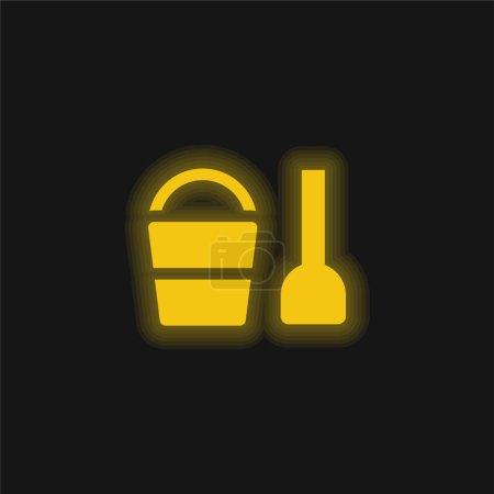 Photo pour Jouet de plage jaune brillant icône néon - image libre de droit