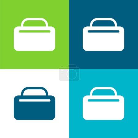 Bag Flat four color minimal icon set