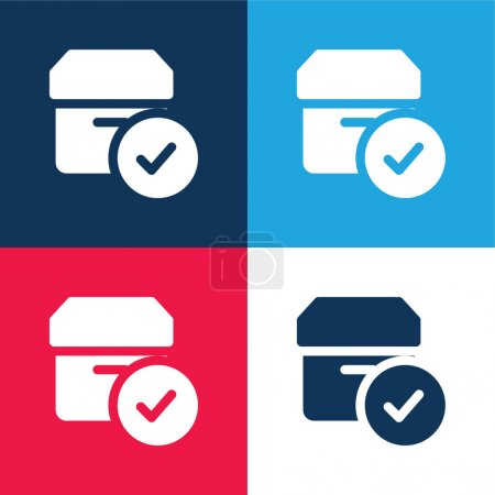 Illustration pour Approuvé bleu et rouge quatre couleurs minimum jeu d'icônes - image libre de droit