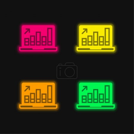 Illustration pour Analytics icône vectorielle néon à quatre couleurs - image libre de droit