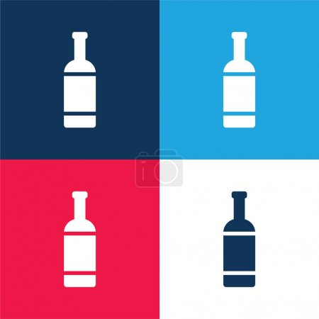 Photo pour Bouteille bleu et rouge quatre couleurs minimum icône ensemble - image libre de droit