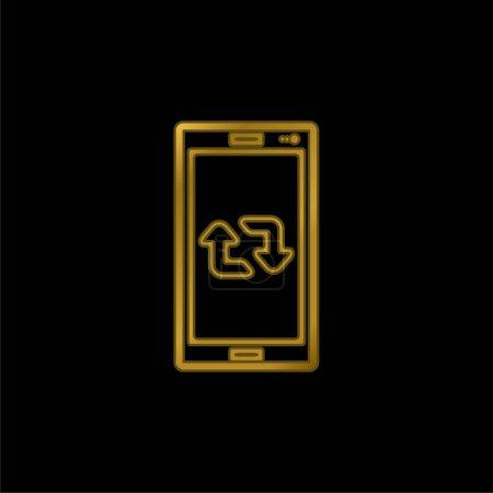 Arrows Couple On Cellphone Screen gold plated metalic icon or logo vector