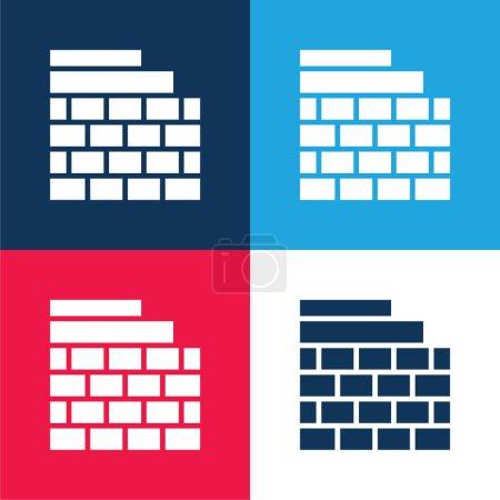 Photo pour Brickwall bleu et rouge quatre couleurs minimum jeu d'icônes - image libre de droit