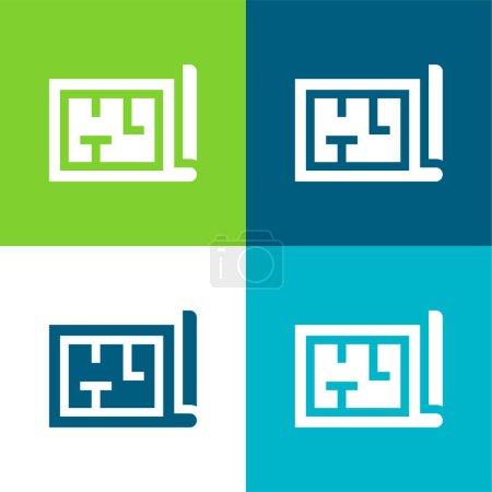 Architecture Ensemble d'icônes minimal plat quatre couleurs