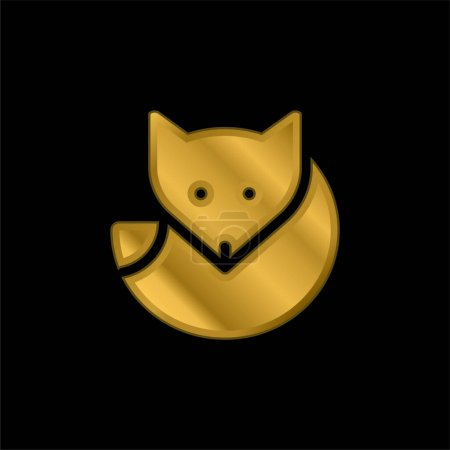 Arctic Fox gold plated metalic icon or logo vector