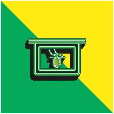 Illustration pour Partie du corps X Ray Vision interne Logo vectoriel 3D moderne vert et jaune - image libre de droit