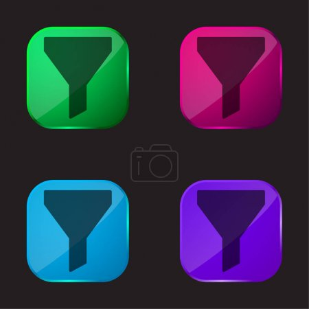 Big Funnel four color glass button icon
