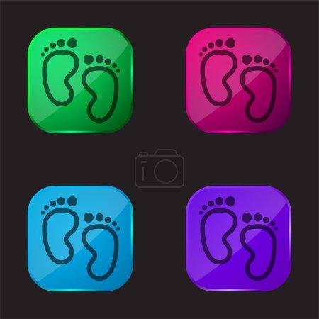 Empreintes de bébé icône de bouton en verre quatre couleurs