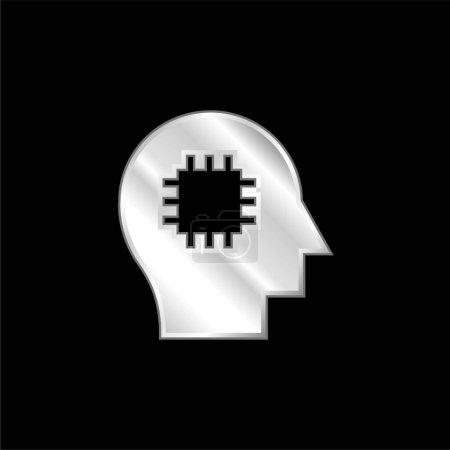 Illustration pour Icône métallique plaqué argent cerveau - image libre de droit