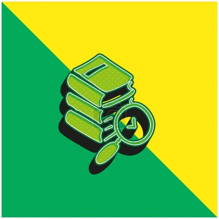 Books Hand Drawn Stack Green and yellow modern 3d vector icon logo