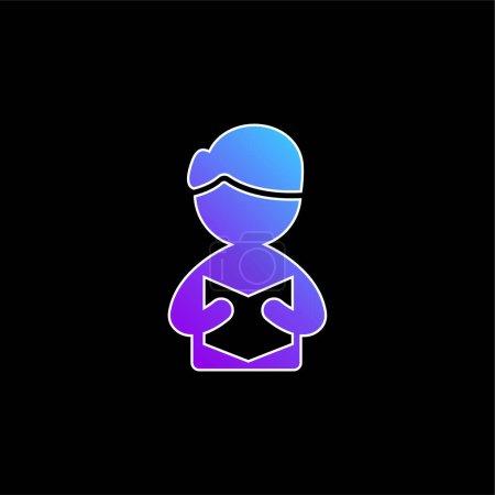 Illustration pour Livre bleu dégradé vecteur icône - image libre de droit