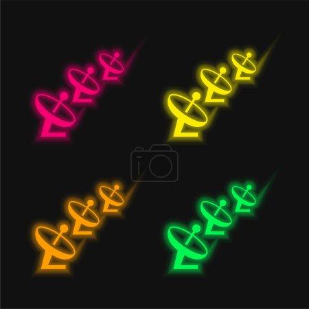 Antennas four color glowing neon vector icon