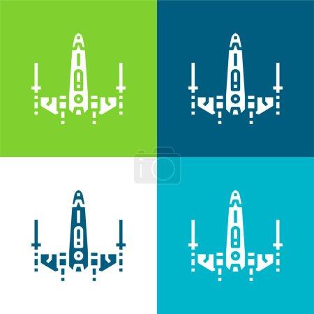 Battleship Flat four color minimal icon set
