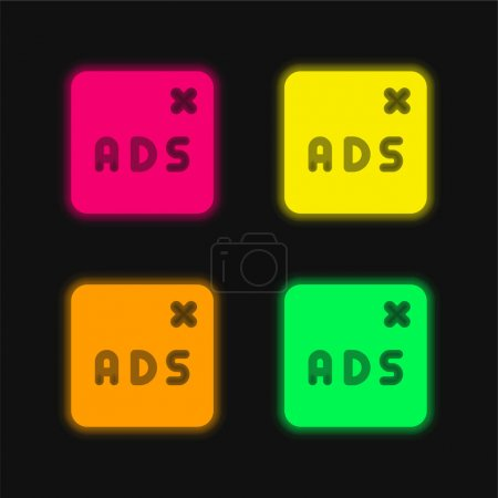 Illustration for Blocked four color glowing neon vector icon - Royalty Free Image