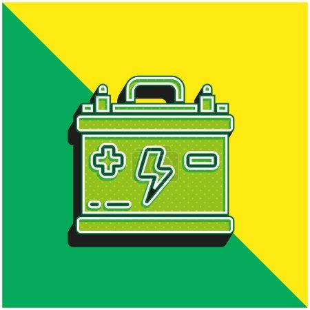 Illustration pour Batterie Logo vectoriel 3D moderne vert et jaune - image libre de droit