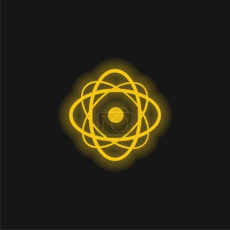 Photo pour Icône néon jaune atome brillant - image libre de droit