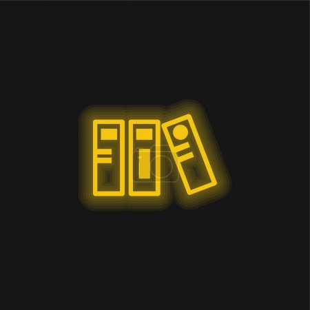 Archives yellow glowing neon icon