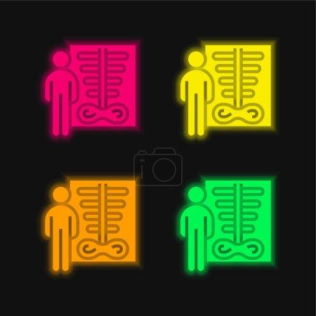 Illustration pour Icône vectorielle néon éclatante à quatre couleurs de densité osseuse - image libre de droit