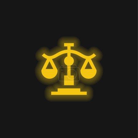 Photo pour Balance jaune brillant icône néon - image libre de droit