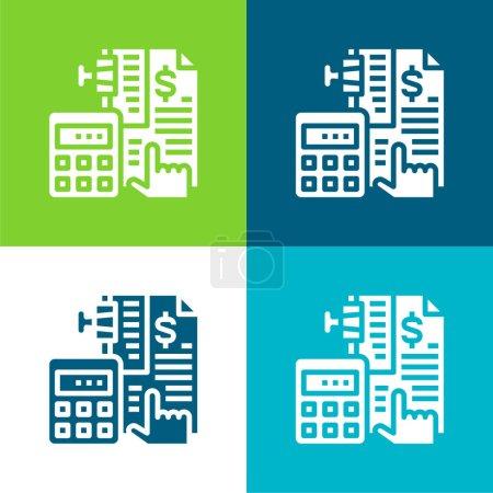 Illustration pour Comptabilité Ensemble plat d'icônes minimes quatre couleurs - image libre de droit