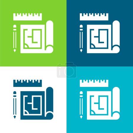 Blueprint Ensemble plat d'icônes minimes quatre couleurs