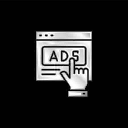 Illustration pour Icône métallique argentée publicitaire - image libre de droit
