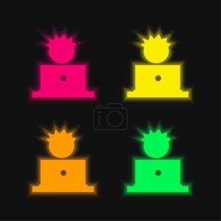 Illustration pour Garçon Et Ordinateur quatre couleur brillant icône vectorielle néon - image libre de droit