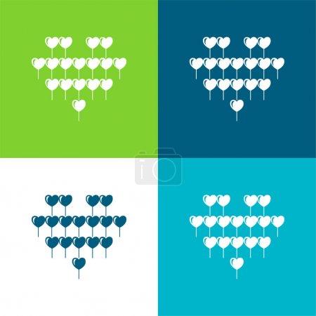 Illustration pour Ballon attrayant de coeur de ballons à plusieurs coeurs Ensemble d'icône minimal plat de quatre couleurs - image libre de droit