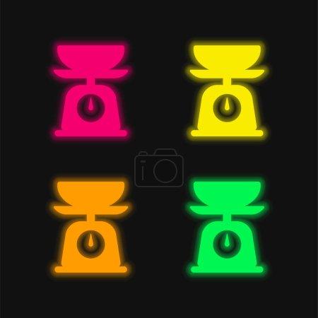 Bilan quatre couleurs rougeoyantes icône vectorielle néon