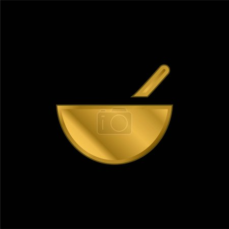 Illustration for Bowl gold plated metalic icon or logo vector - Royalty Free Image