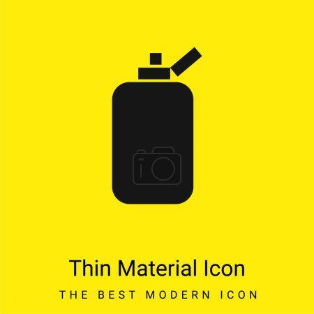 Photo pour Conteneur de bouteille de salle de bains de forme noire rectangulaire arrondie icône matérielle jaune vif minimale - image libre de droit