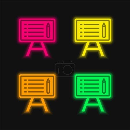 Illustration pour Tableau noir quatre couleurs brillant icône vectorielle néon - image libre de droit
