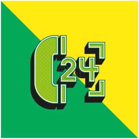 Illustration pour 24 heures de soutien vert et jaune moderne icône vectorielle 3d logo - image libre de droit