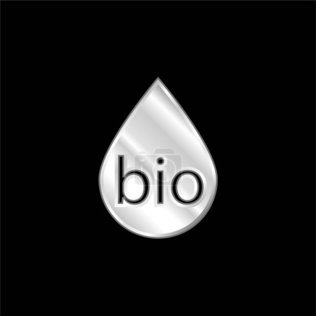 Illustration pour Biocarburant icône métallique argentée - image libre de droit