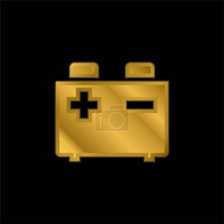 Illustration for Battery gold plated metalic icon or logo vector - Royalty Free Image