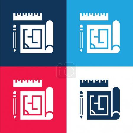 Blueprint bleu et rouge quatre couleurs minimum jeu d'icônes