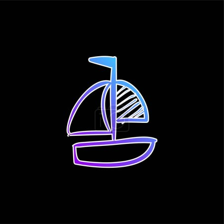 Boat Hand Drawn Toy blue gradient vector icon