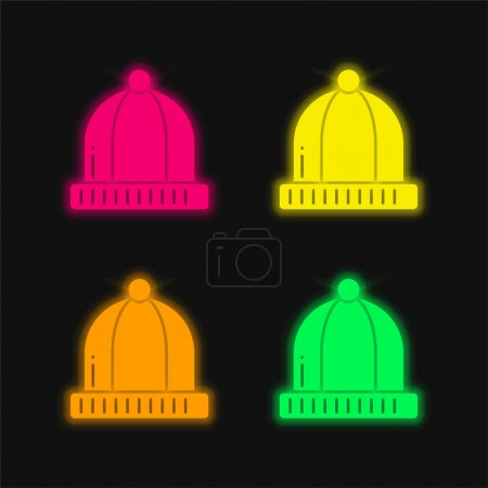 Illustration for Beanie four color glowing neon vector icon - Royalty Free Image